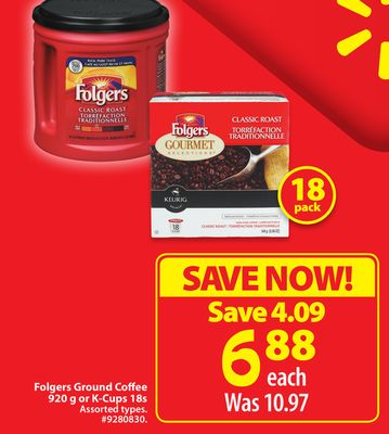 Folgers Ground Coffee 920 g or K-cups 18s