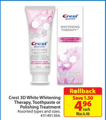 Crest 3D White Whitening Therapy - Toothpaste or Polishing Treatment