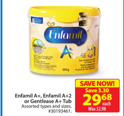 Enfamil A+ - Enfamil A+2 or Gentlease A+ Tub