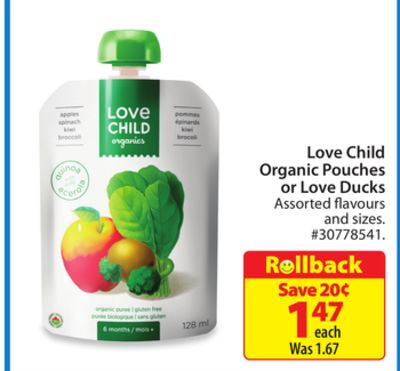 Love Child Organic Pouches or Love Ducks