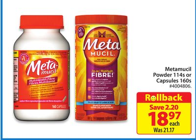 Metamucil Powder 114s or Capsules 160s