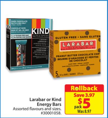 Larabar or Kind Energy Bars