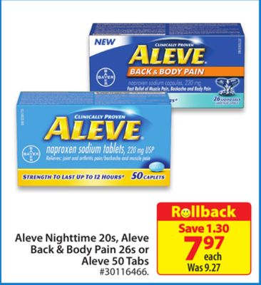 Aleve Nighttime 20s - Aleve Back & Body Pain 26s or Aleve 50 Tabs