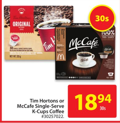 Tim Hortons or Mccafe Single-serve K-cups Coffee