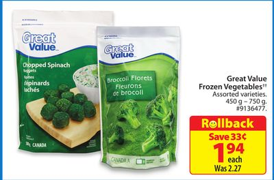 Great Value Frozen Vegetables