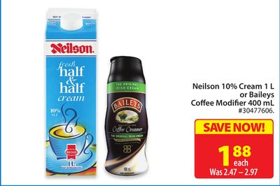 Neilson 10% Cream 1 L or Baileys Coffee Modifier 400 mL