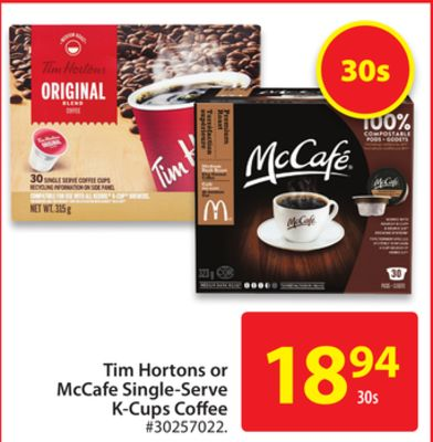 Tim Hortons or Mccafe Single Serve K-cups Coffee