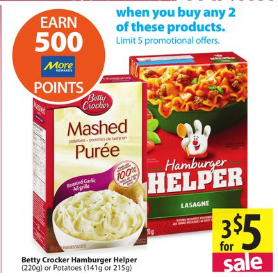 Betty Crocker Hamburger Helper (220g) on sale | Salewhale.ca