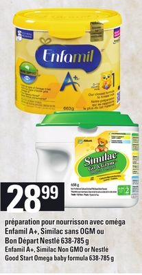 Enfamil A+ - Similac Non Gmo Or Nestlé Good Start Omega Baby Formula 638-785 g