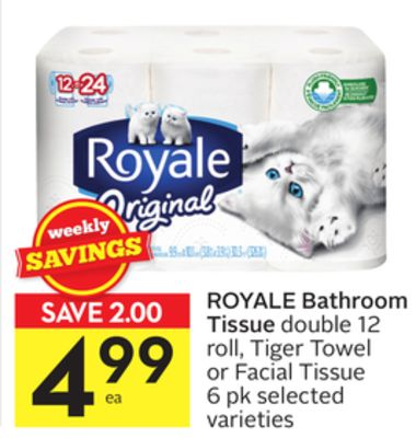 Royale Bathroom Tissue Double 12 Roll On Sale Salewhale Ca