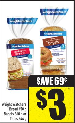 Weight Watchers Bread 450 g Bagels 360 g or Thins 344 g