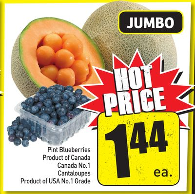 Pint Blueberries Product of Canada Canada No.1 Cantaloupes Product of USA No.1 Grade
