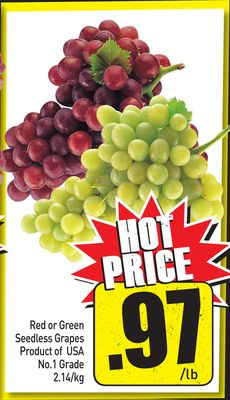 Red or Green Seedless Grapes Product of USA No.1 Grade 2.14/kg