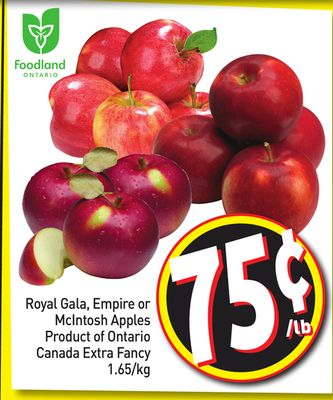 Royal Gala - Empire or Mcintosh Apples Product of Ontario Canada Extra Fancy 1.65/kg