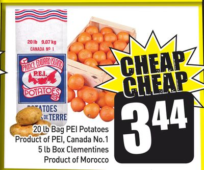 20 Lb Bag Pei Potatoes Product of Pei - Canada No.1 - 5 Lb Box Clementines Product Of Morocco