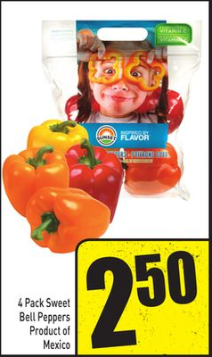 4 Pack Sweet Bell Peppers