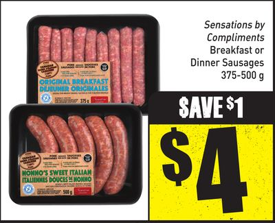 Sensations By Compliments Breakfast or Dinner Sausages 375-500 g
