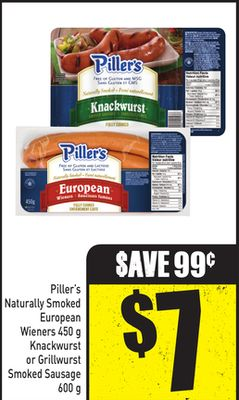 Piller's Naturally Smoked European Wieners 450 g Knackwurst or Grillwurst Smoked Sausage 600 g