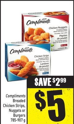 Compliments Breaded Chicken Strips - Nuggets or Burgers 785-907 g