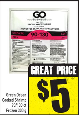 Green Ocean Cooked Shrimp 90/130 Ct Frozen 300 g