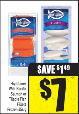 High Liner Wild Pacific Salmon or Tilapia Fish Fillets Frozen 454 g