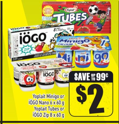 Yoplait Minigo or Iögo Nano 6 X 60 g Yoplait Tubes or Iögo Zip 8 X 60 g