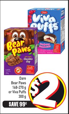 Dare Bear Paws 168-270 g or Viva Puffs 300 g
