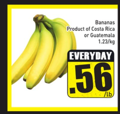 Bananas Product of Costa Rica or Guatemala 1.23/kg