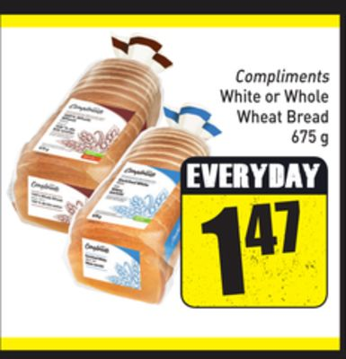 Compliments White or Whole Wheat Bread 675 g