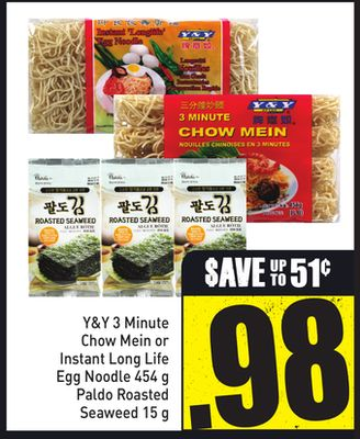 Y&y 3 Minute Chow Mein or Instant Long Life Egg Noodle 454 g Paldo Roasted Seaweed 15 g