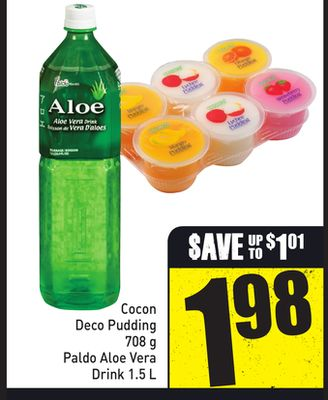 Cocon Deco Pudding 708 g Paldo Aloe Vera Drink 1.5 L