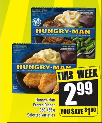 Hungry-man Frozen Dinner 360-455 g Selected Varieties