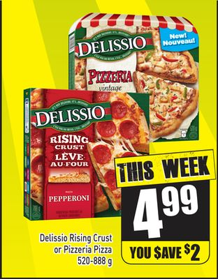 Delissio Rising Crust or Pizzeria Pizza 520-888 g