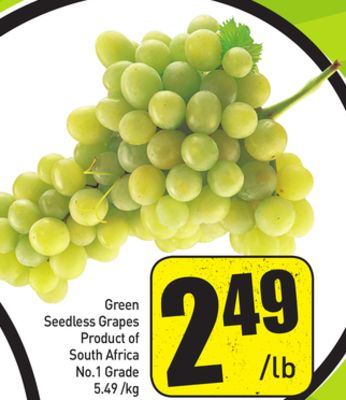 Green Seedless Grapes Product of South Africa No.1 Grade 5.49 /Kg