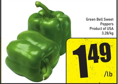 Green Bell Sweet Peppers Product of USA 3.28/kg