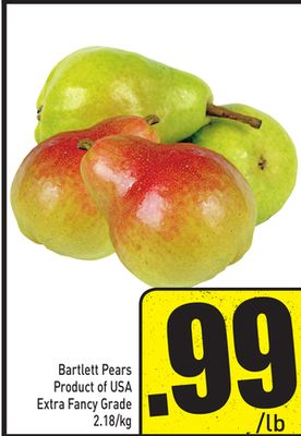 Bartlett Pears Product of USA Extra Fancy Grade 2.18/kg