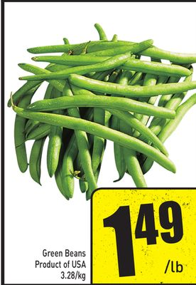 Green Beans Product of USA 3.28/kg