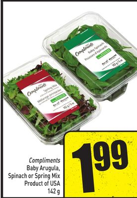 Compliments Baby Arugula - Spinach or Spring Mix - Product of USA 142 g