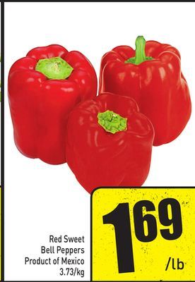 Red Sweet Bell Peppers Product of Mexico 3.73/kg