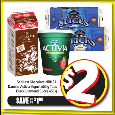 Sealtest Chocolate Milk 2 L Danone Activia Yogurt 650 g Tubs Black Diamond Slices 450 g