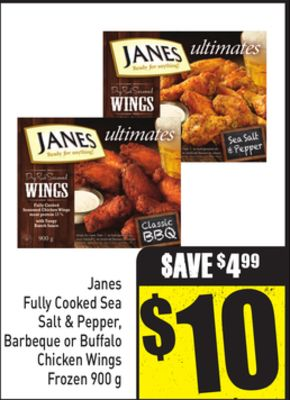 Janes Fully Cooked Sea Salt & Pepper - Barbeque or Buffalo Chicken Wings Frozen 900 g
