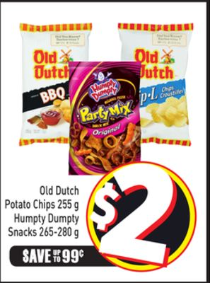 Old Dutch Potato Chips 255 g Humpty Dumpty Snacks 265-280 g