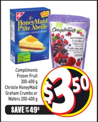 Compliments Frozen Fruit 300-600 g Christie Honeymaid Graham Crumbs or Wafers 200-400 g