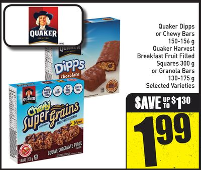 Quaker Dipps or Chewy Bars 150-156 g - Quaker Harvest Breakfast Fruit Filled Squares 300 g or Granola Bars 130-175 g Selected Varieties