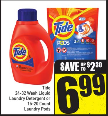 Tide 24-32 Wash Liquid Laundry Detergent or 15-20 Count Laundry Pods