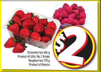 Strawberries 454 g Product of USA - No.1 Grade - Raspberries 170 g Product of Mexico