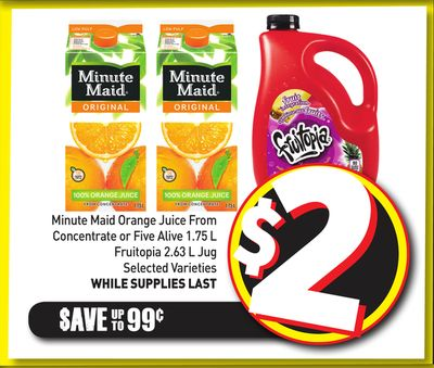 Minute Maid Orange Juice From Concentrate or Five Alive 1.75 L Fruitopia 2.63 L Jug