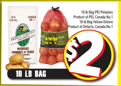10 Lb Bag Pei Potatoes Product of Pei - Canada No.1 - 10 Lb Bag Yellow Onions Product of Ontario - Canada No.1