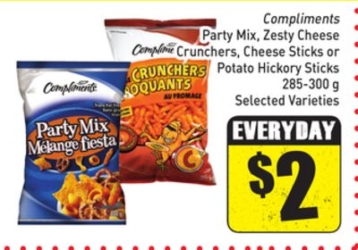 Compliments Party Mix - Zesty Cheese Crunchers - Cheese Sticks or Potato Hickory Sticks 285-300 g Selected Varieties