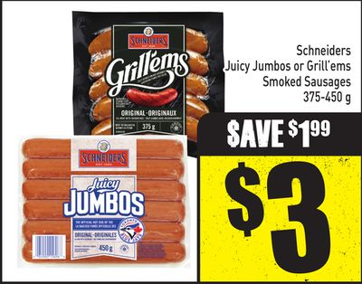 Schneiders Juicy Jumbos or Grill'ems Smoked Sausages 375-450 g
